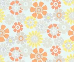 フリース壁紙 花柄 オレンジ【6448-04】