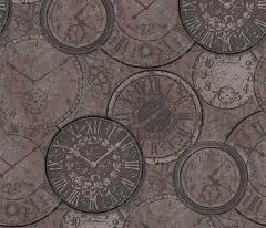 フリース壁紙 時計柄 黒【6435-37】