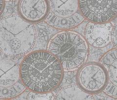 フリース壁紙 時計柄 グレーB【6435-10】