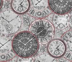 フリース壁紙 時計柄 グレーA【6435-06】